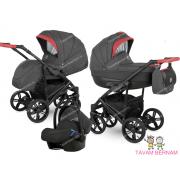 Camarelo Baleo 3-1 Ba-7 (melna / sarkana) bērnu kulbu rati